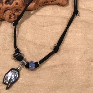 Jewelry - Black Baroque Freshwater Pearl Leather Necklace